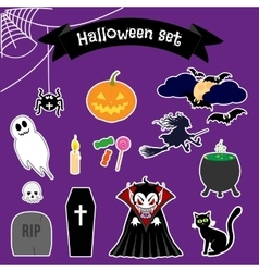 Halloween stickers set vector image