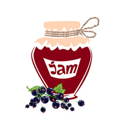 jar of black currant jam vector image vector image