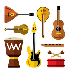set of musical instruments flat style vector image vector image
