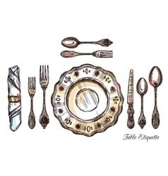 Table Etiquette Hand Drawn vector image