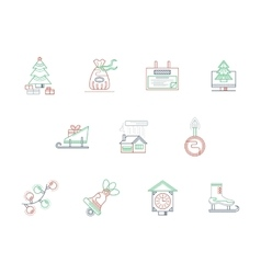 Winter theme color line icons collection vector image vector image
