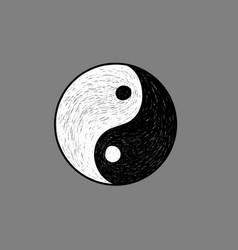 ying yang symbol hand sketch vector image vector image
