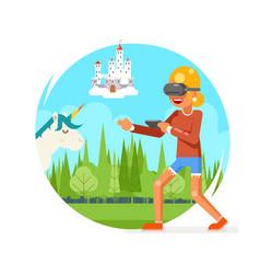 fantasy land vr virtual reality glasses young vector image
