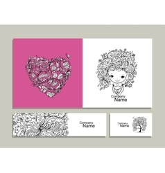 Floral girl greeting card and banners for your vector image