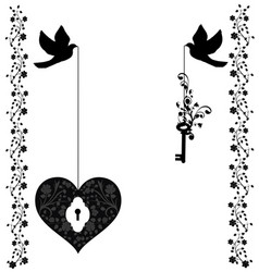 flourishes with doves heart and key vector image vector image