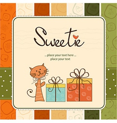 greeting card with cat and presents vector image vector image