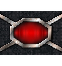Metal hex frame on the grungy metal vector