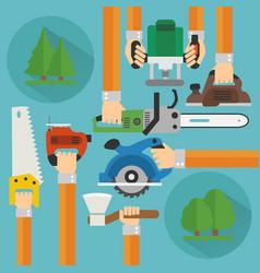 Sawmill concept design flat set vector