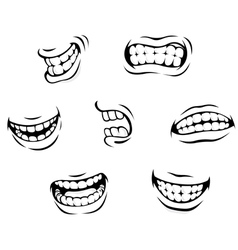 Smiling and angry cartoon teeth vector image vector image