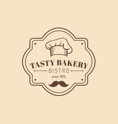 vintage tasty bakery logo hipster pastry icon vector image