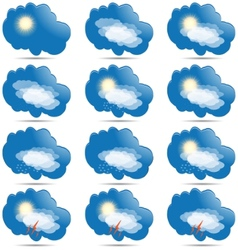 Weather icons set as labels vector image vector image