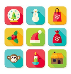 Winter Christmas New Year Square App Icons Set vector image vector image