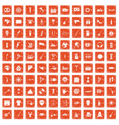 100 street festival icons set grunge orange vector