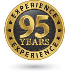 95 years experience gold label vector