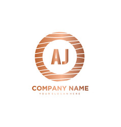 Aj initial letter circle wood logo template vector