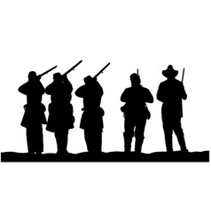 american civil war soldiers silhouette vector image