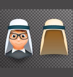 arab keffiyeh mask on boys head 3d design template vector image