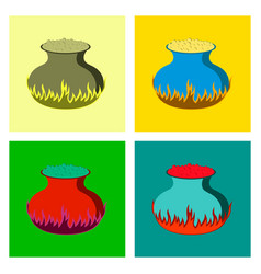 assembly flat potion cauldron vector image