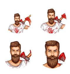Avatar a bearded man with a bloody ax vector