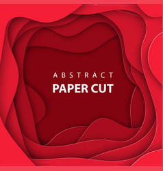 background with deep red color paper cut shapes vector image