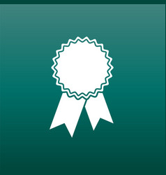 Badge with ribbon icon in flat style on green vector