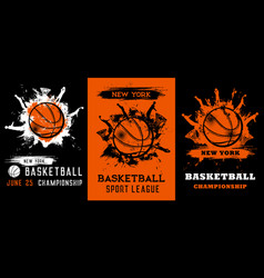 Basketball championship grunge posters flyers vector