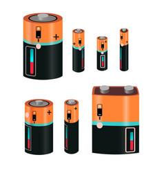 Battery types set vector