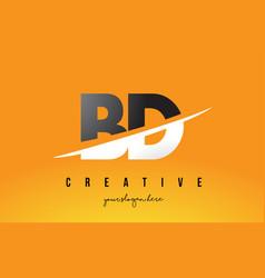 Bd b d letter modern logo design with yellow vector