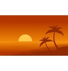Beach and palm on orange backgrounds silhouettes vector