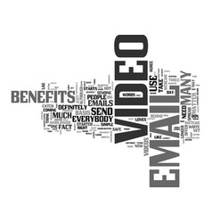 benefits of video email text word cloud concept vector image vector image