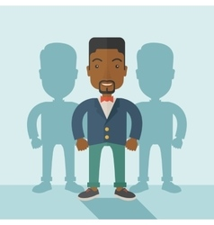 Black businessman standing straight with his vector