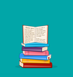 books background pile different color books vector image