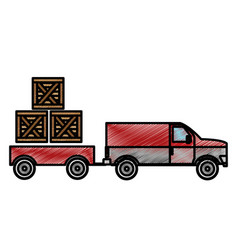 boxes and truck design vector image