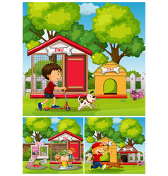 boys and dogs in the park vector image