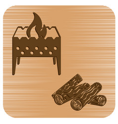 Brazier and firewood icon vector