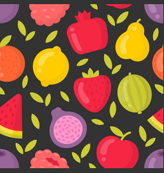 Bright fruits seamless pattern on dark vector