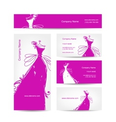 Business cards with wedding dress for your design vector image vector image