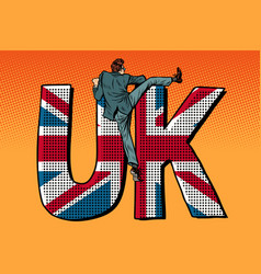 businessman overcomes the border uk word flag vector image