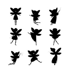 cartoon characters fairies silhouette black set vector image