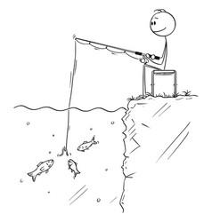 Cartoon man or fisherman sitting and angling vector