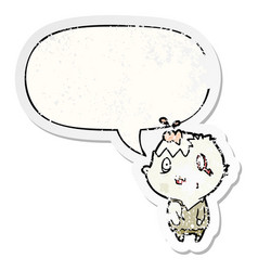 Cartoon zombie and speech bubble distressed vector