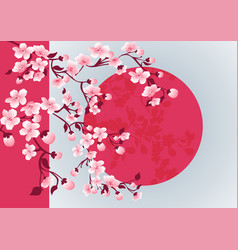Cherry blossom art picture sakura tree vector