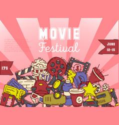 cinema festival poster flyer media production vector image