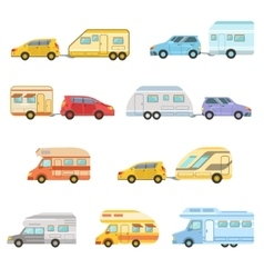 Colorful Rv Minivan With Trailer Set Of Icons vector