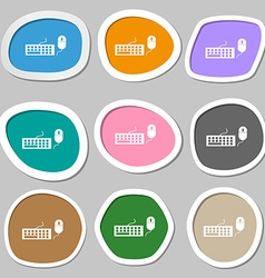 Computer keyboard and mouse Icon Multicolored vector image