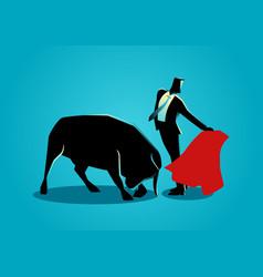 Courageous businessman being a matador vector