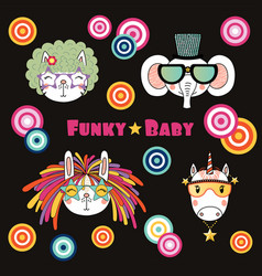 Cute animals in funky hats and glasses vector