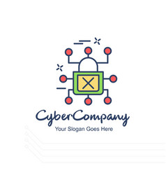 Cyber company lock logo with white background and vector