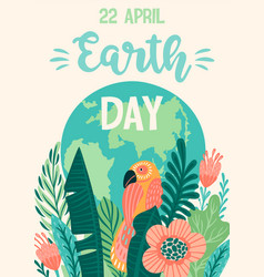 Earth day save nature design template vector