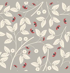 Endless pattern with flowers and ladybugs vector
